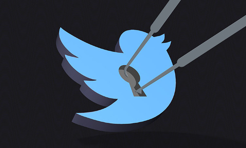 The Twitter logo bird illustrated as a picked lock.